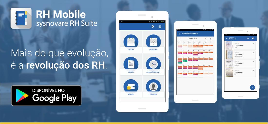 RH MOBILE, Sysnovare RH Suite, Solução de Capital Humano, Recursos Humanos, app, smartphone, Despesas, Atividades, Workflow, Calendários de Eventos, Calendário de Assiduidade, Recibos de Vencimento, Marcação de Ponto.